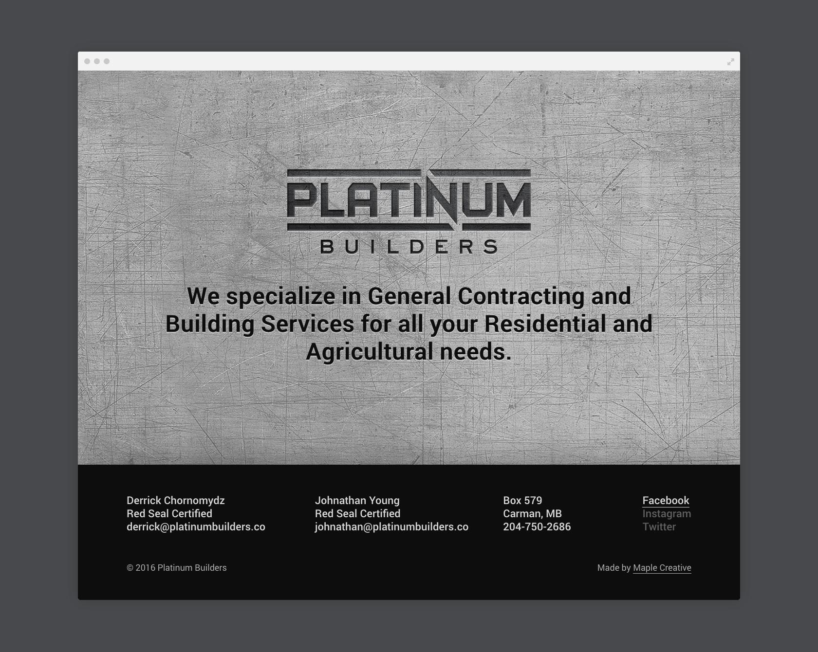 Platinum Builders landing page